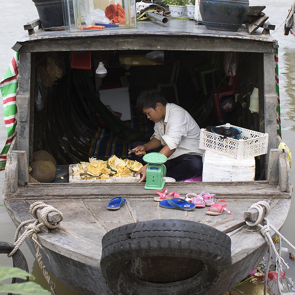 Below Deck, Fruit on the River, Saigon, Vietnam